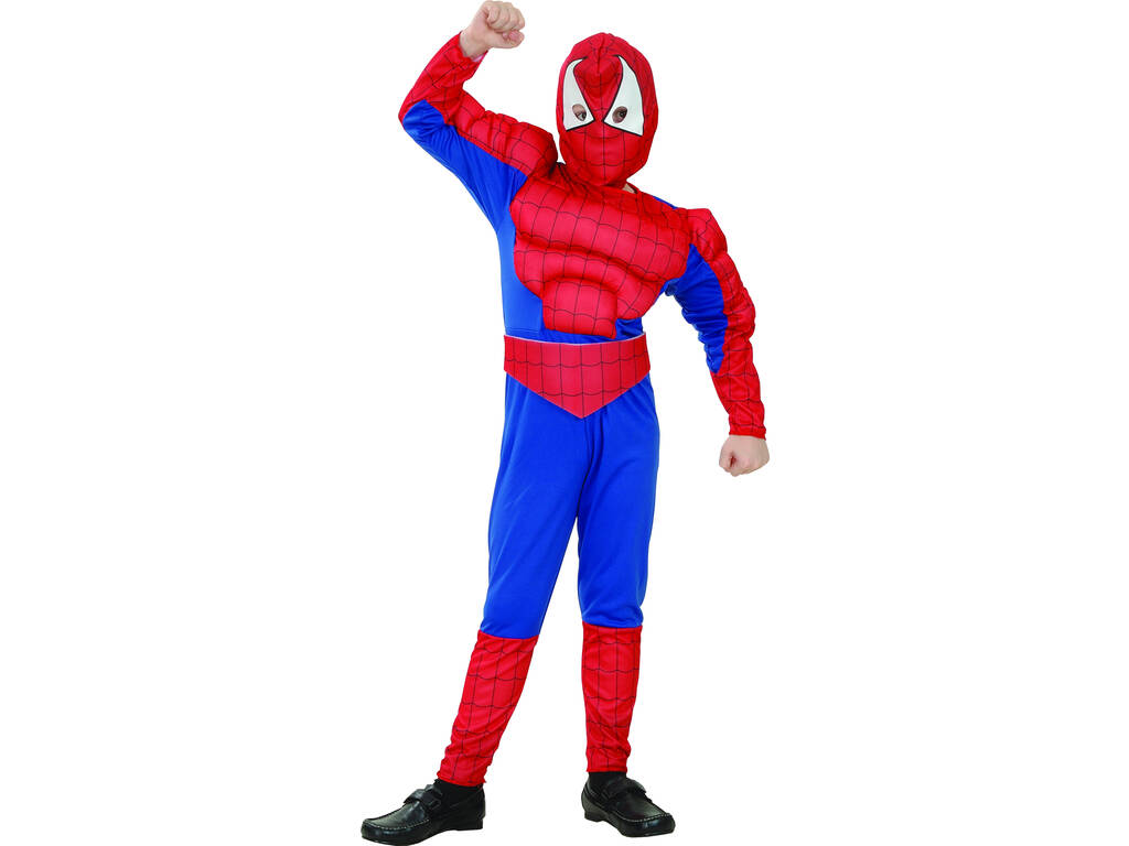 Disfarce Herói Aranha Musculoso Menino Tamanho XL