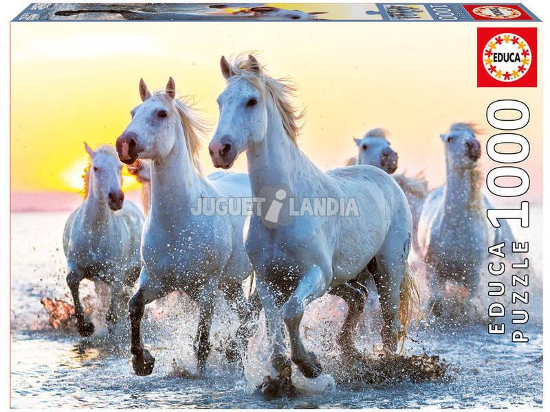 Puzzle 1000 Caballos Blancos al Atardecer Educa 17105