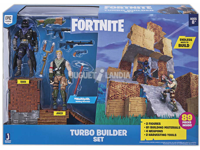 Fortnite Set Turbo Builder con 2 Figuras, Materiales, Armas y Picos