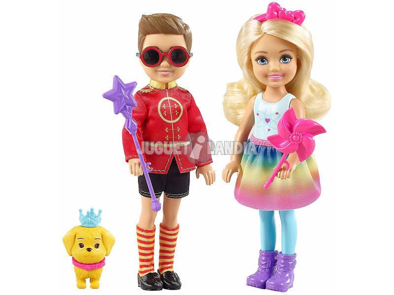 Barbie Dreamtopia Bambole Chelsea e Otto con Cucciolo Mattel FRB14