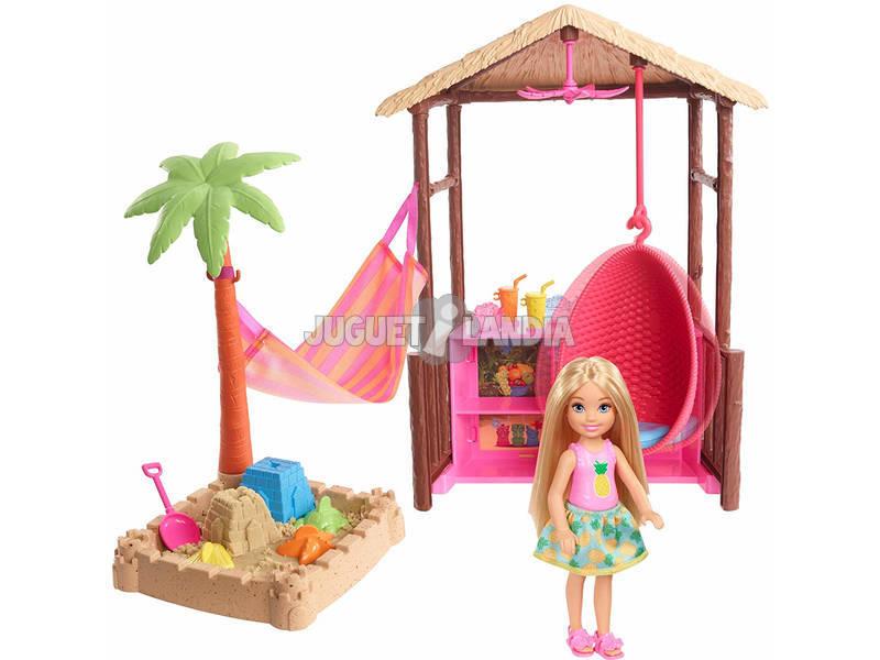 Barbie Bambola Chelsea Bionda, Playset con Bungalow sulla Spiaggia