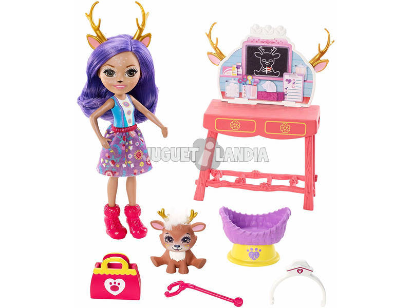 Enchantimals Clinica Veterinaria, Playset con Bambola Danessa Mattel GBX04