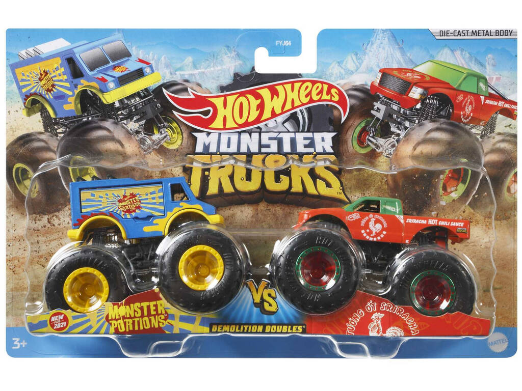 Hot Wheels Vehículos Monster Truck Duetos De Demolición Mattel FYJ64