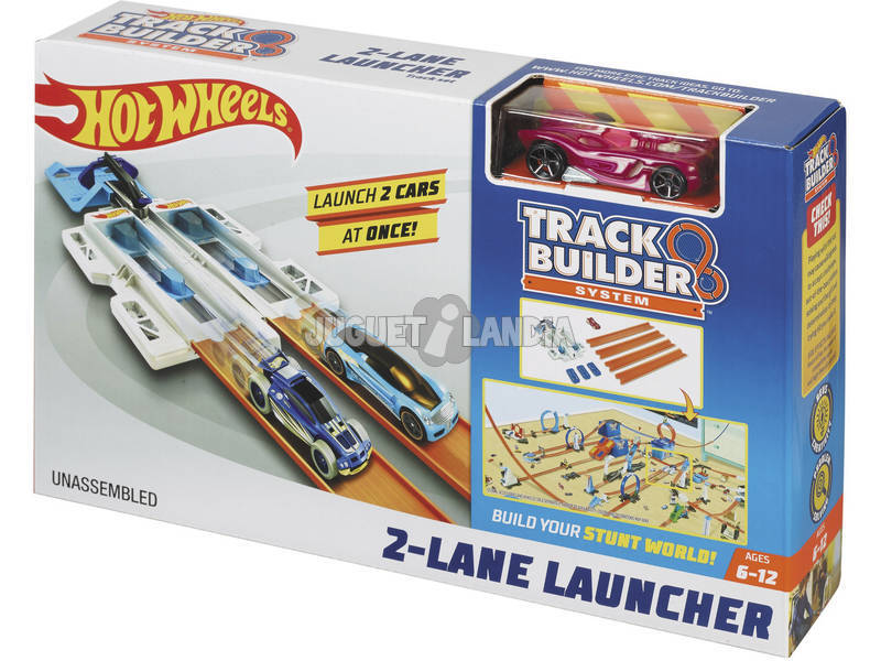 Hot Wheels Track Builder Doble Lanzador Competición Mattel DJD68