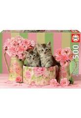 Puzzle 500 Chatons avec des Roses Educa 17960