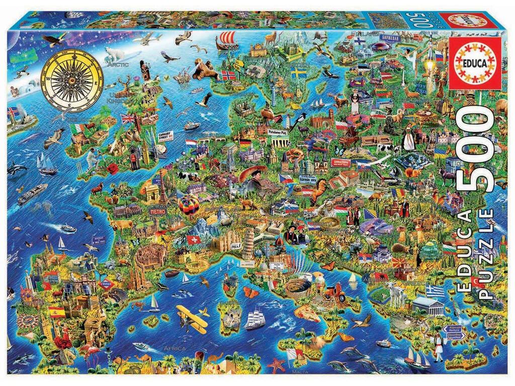 Puzzle 500 Mapa De Europa Educa 17962