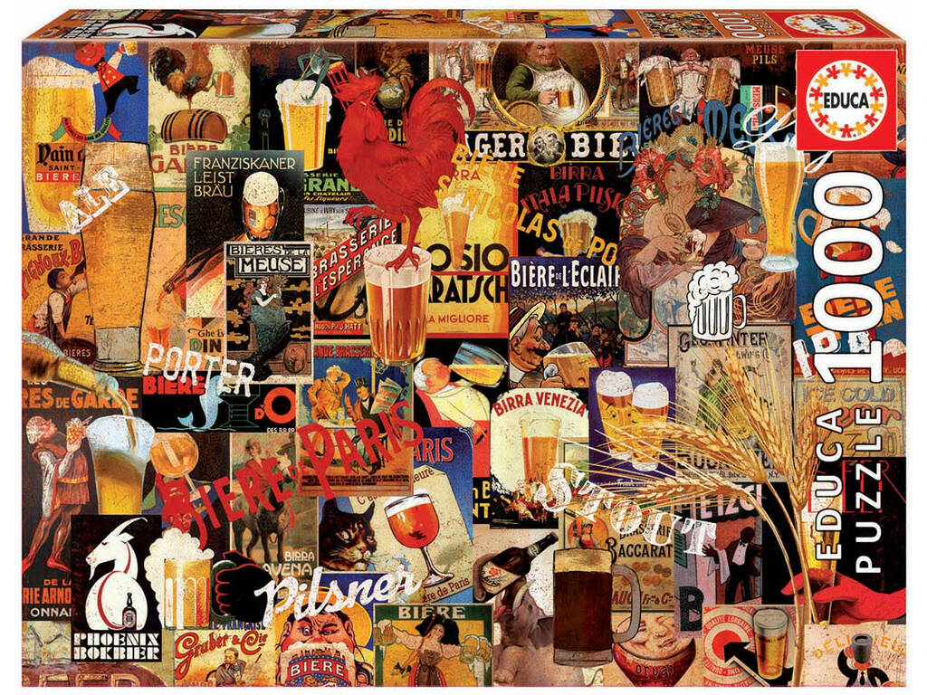 Puzzle 1.000 Collage Di Birre Vintage Educa 17970