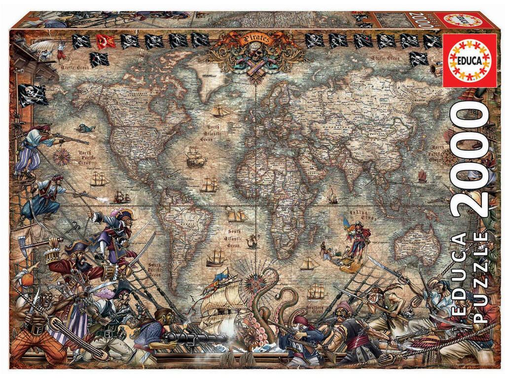 Puzzle 2.000 Mapa De Piratas Educa 18008