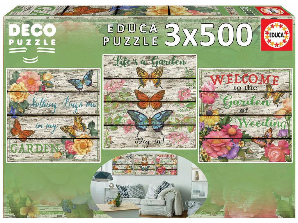 Puzzle 3x500 Giardino di Campagna Educa 17965