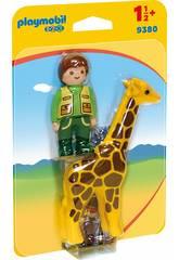 Playmobil 1,2,3 Cuidador con Jirafa 9380