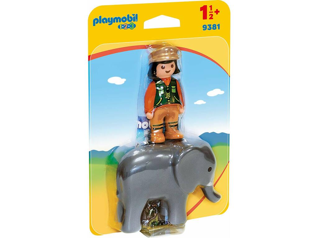 Playmobil 1,2,3 Cuidadora con Elefante 9381