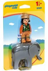imagen Playmobil 1,2,3 Cuidadora con Elefante 9381