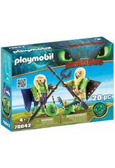 Playmobil Cómo Entrenar a Tu Dragón Chusco y Brusca con Traje Volador 70042