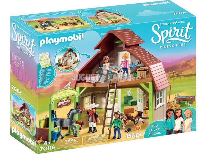 Playmobil Spirit Establo con Fortu, Pru y Abigail 70118