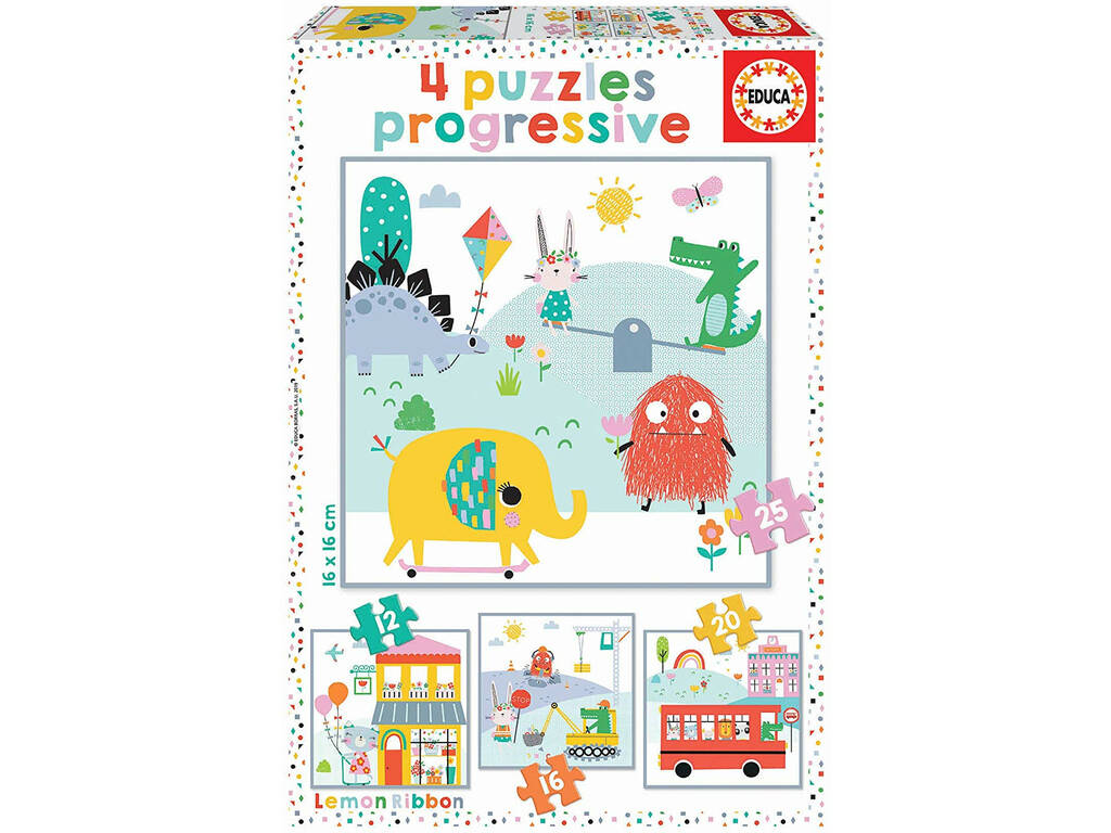 Puzzle Infantil Progresivo 12-16-20-25 Lemon Ribbon Educa 18061