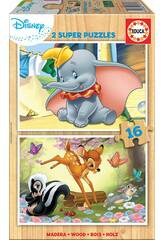 Puzzle 2x16 Disney Animals Dumbo y Bambi Educa 18079