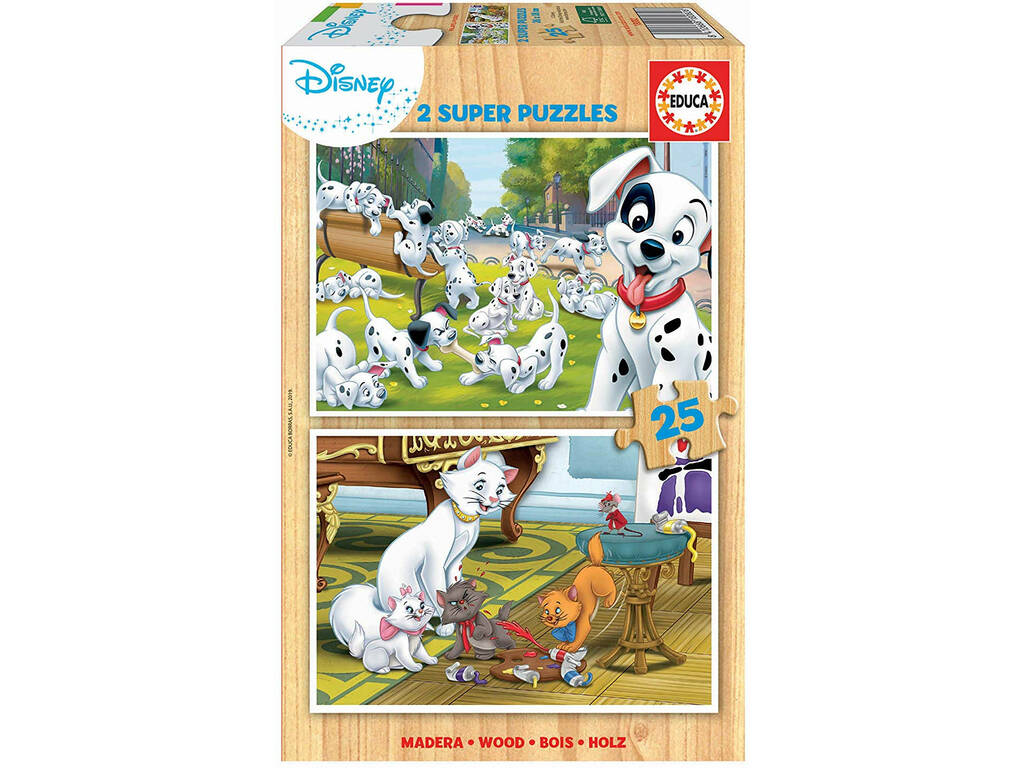 Puzzle 2x16 Disney Animals Dálmatas e Aristogatos Educa 18082