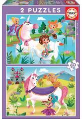 imagen Puzzle 2X20 Unicornios y Hadas Educa 18064