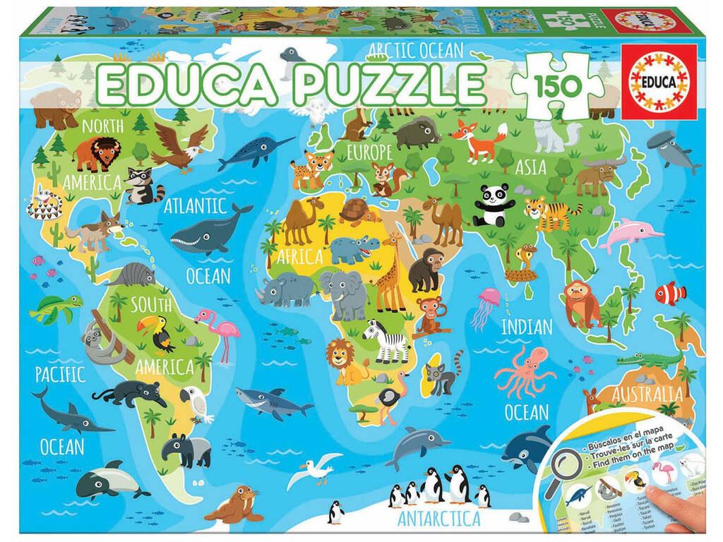 Puzzle 150 Mapamundi Animales Educa 18115