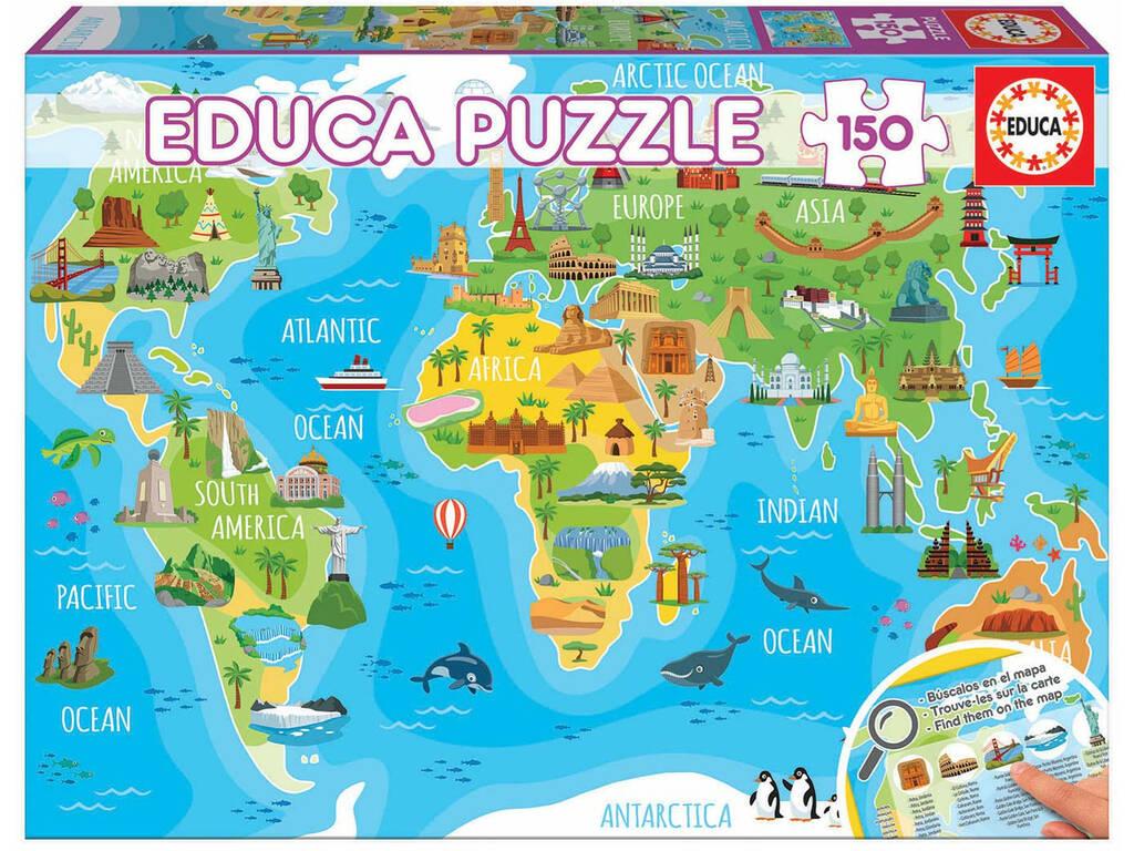 Puzzle 150 Mapa-múndi Monumentos Educa 18116