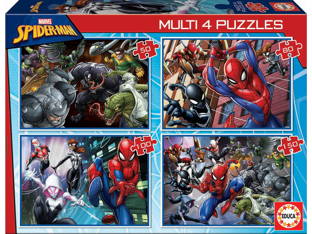 Multi-Puzzles 4 Spiderman 50-80-100-150 Educa 18102