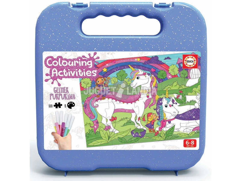 Maletín Colouring Activities Puzzle 100 Unicornio Educa 18066