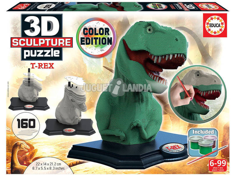 Puzzle Color 3D Scultura T-Rex Educa 17848