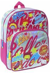 Mochila Soy Luna Prateada Brilhante Toybags T323-034
