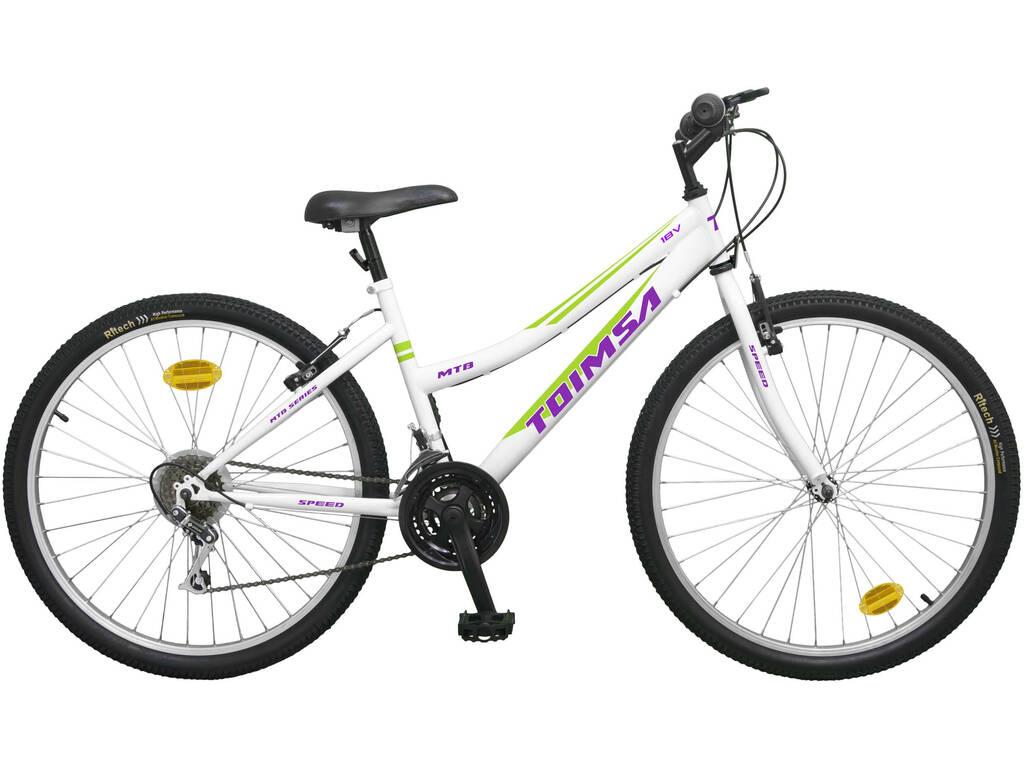 Bicicleta 24 Mtb Blanca 18 VELOCIDADES Toimsa 523