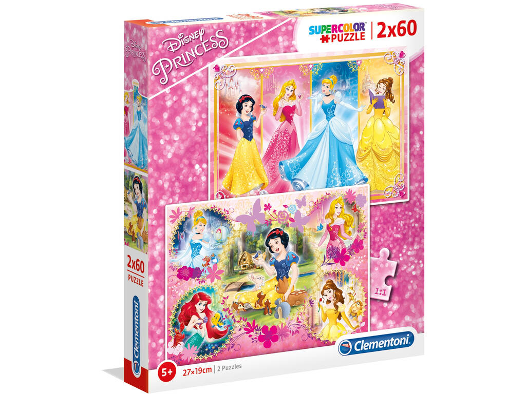 Disney Princess - 2x60 pezzi - Supercolor Puzzle Clementoni 7133