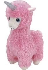 Peluche Llama Rosa con Cuerno 25 cm. Lana TY 36282TY