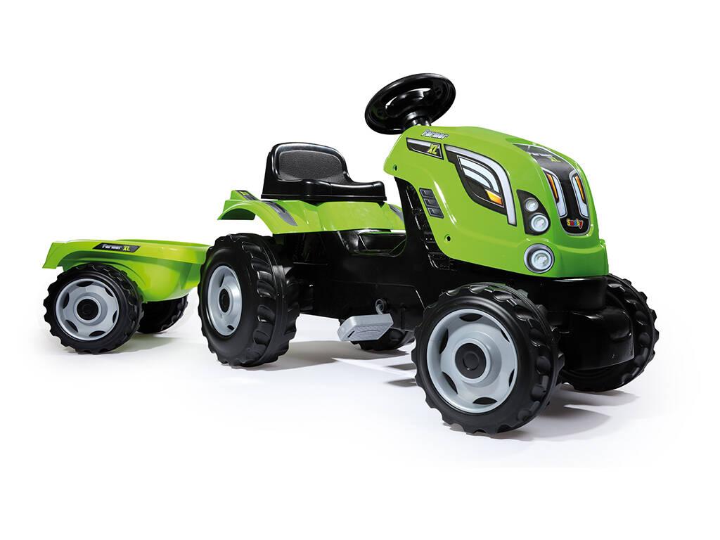 Tractor Farmer XL Verde Con Remolque Smoby 710111