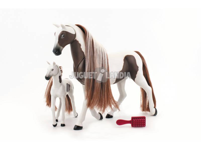 Cavalo Cabelo Longo Com Potro E Acessórios