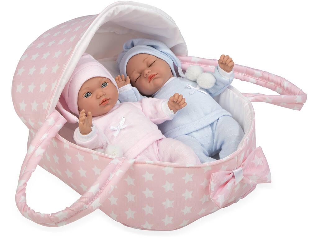 Coppia bambini gemelli 28 cm. Con Culla Portatile Arias 50136