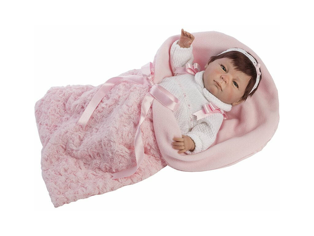 Bambola Mi Pequeño Reborn 45 cm. Abito Rosa Con Capelli Berbesa 4550