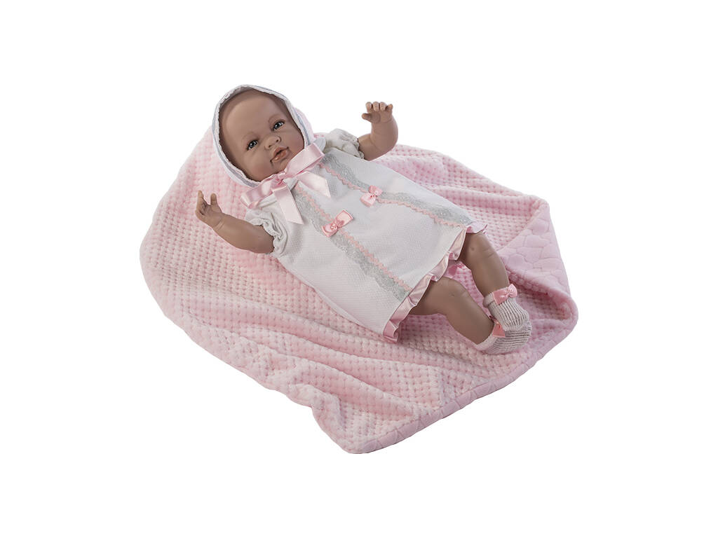 Boneca Sara Recém-Nascida 50 cm. Vestido Cor-de-Rosa e Cobertor Berbesa 5209