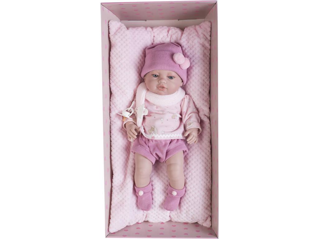 Boneca Recém-Nascida 42 cm. Vestido Cor-de-Rosa e Almofada Berbesa 5115R