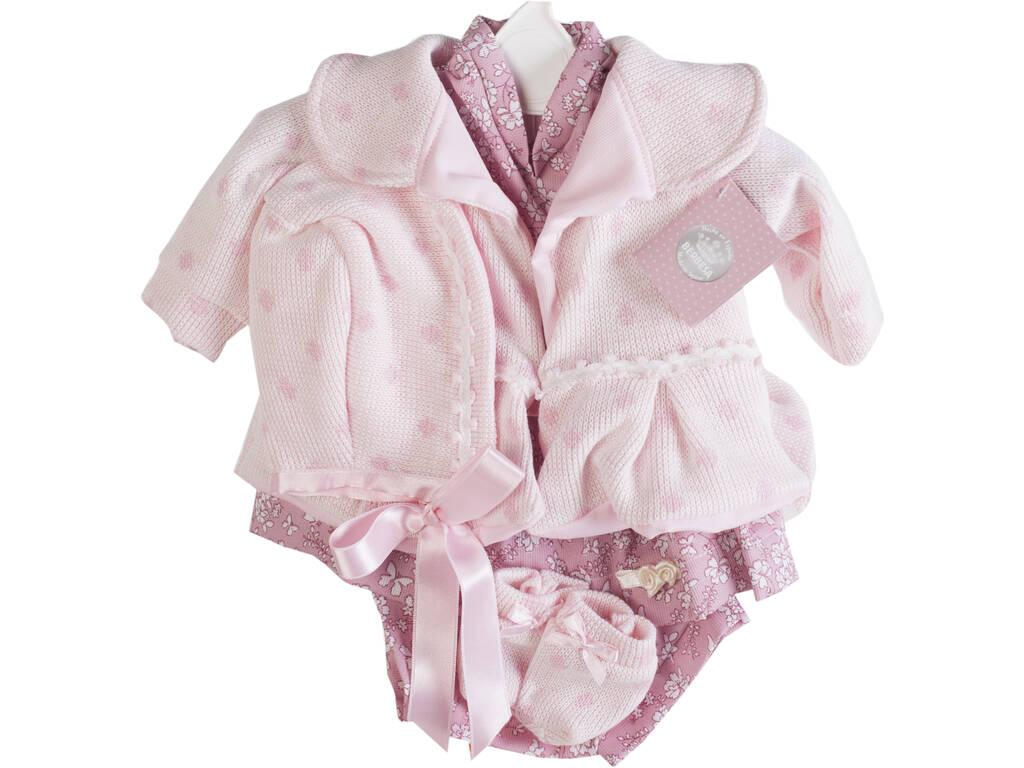 Vestido Muñeca Recién Nacida 50 cm. Abrigo Rosa Berbesa T5205