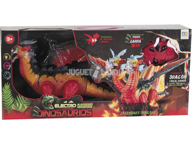 Dinosaurio Alado 2 Cabezas con Mando de Infrarrojos