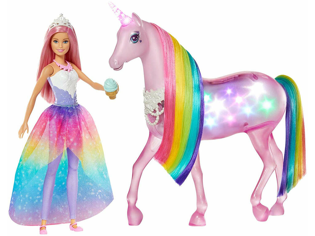 Barbie Unicornio Luces Con Muñeca FXT26