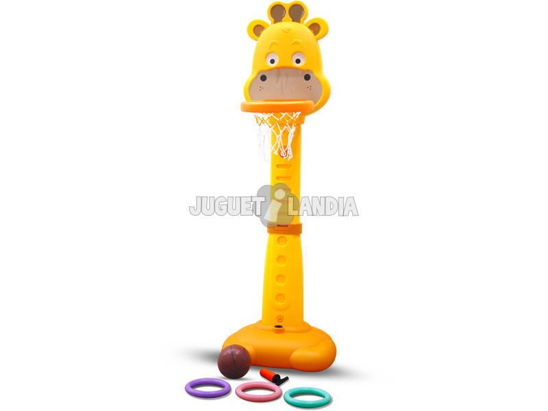 Canestro Giraffa 3 in 1 musicale con Palla da Basket e Palla Ventose