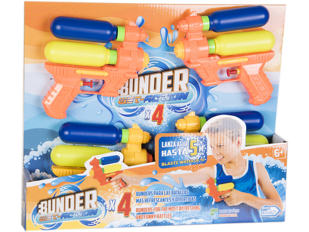 Set Bunder con 4 Pistolas de Agua