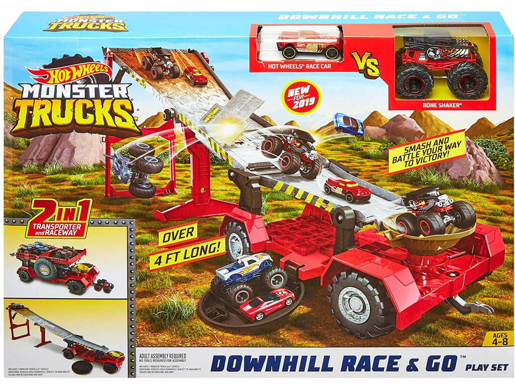 Hot Wheels Monster Truck Pista Downhill Race & Go Mattel GFR15