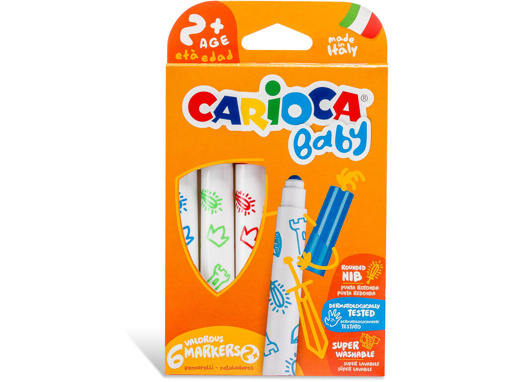 Marqueurs Baby Markers 6 Couleurs Carioca 42813