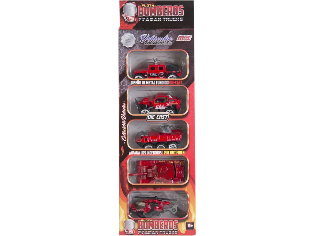 Veicoli Pompieri Die Cast 7,5 cm. Set 5 pezzi