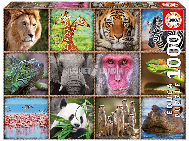 Puzzle 1000 Collage con Animali Selvatici Educa 17656