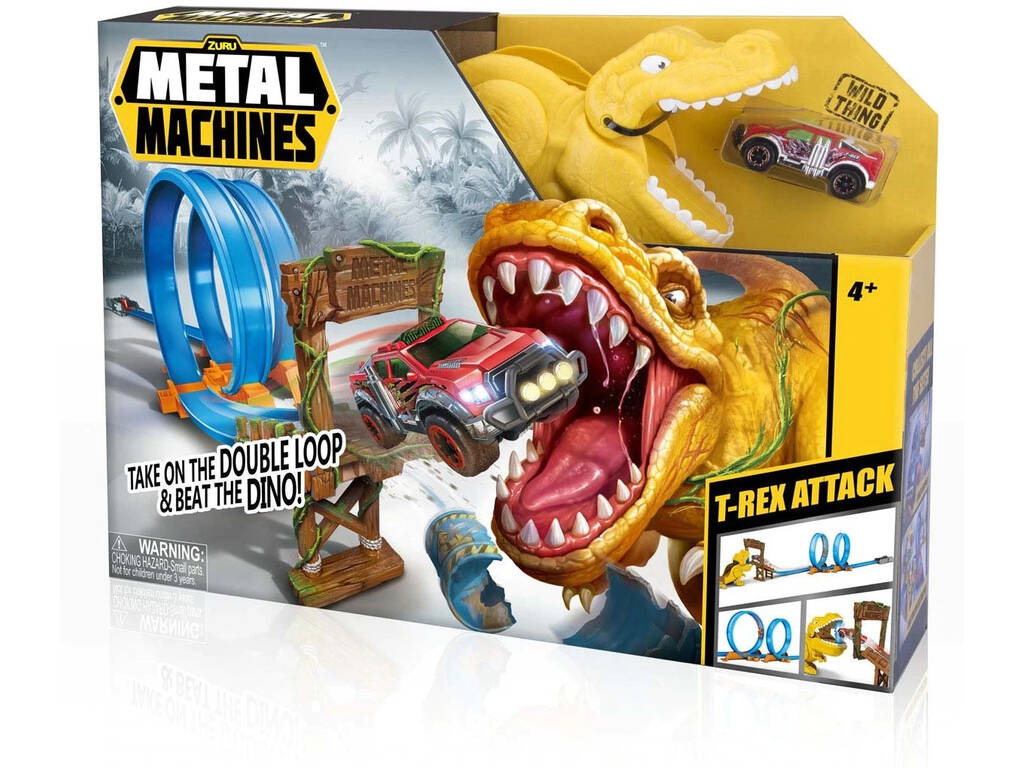 Metal Machines T- Rex Attack com Veículo de Metal Zuru 11005213