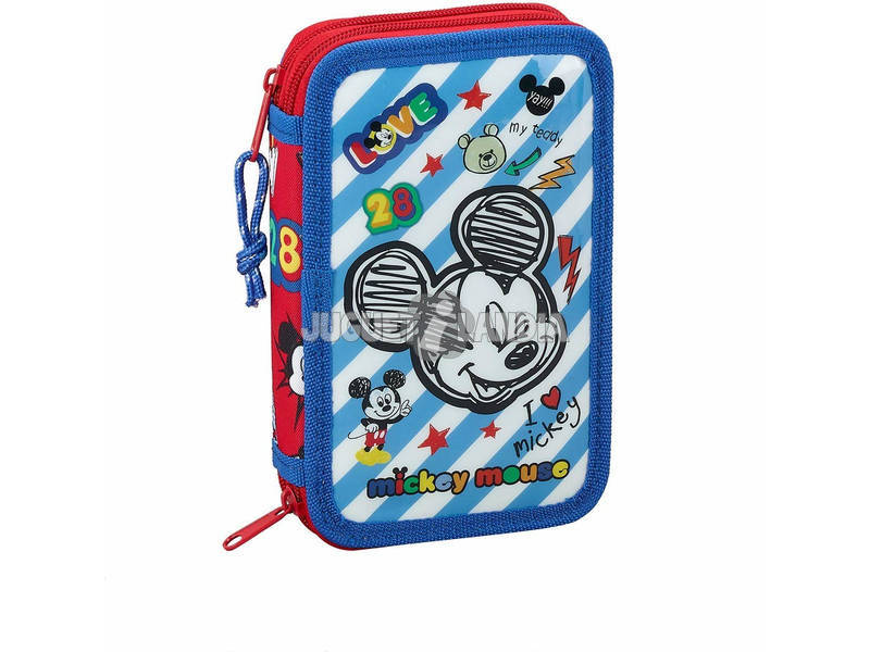 Plumier Duplo Pequeno 28 peças Mickey Mouse Safta 411914854