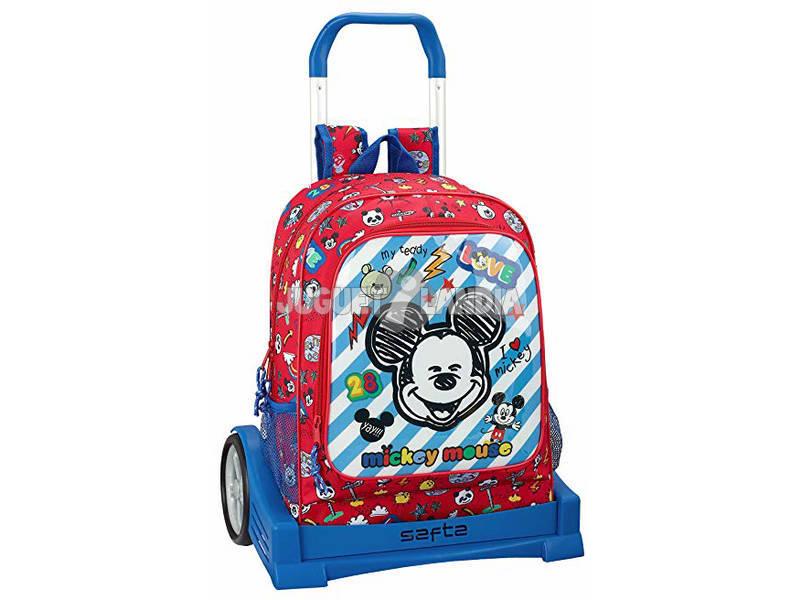 Mochila con Carro Evolution Mickey Mouse Maker Safta 611914860