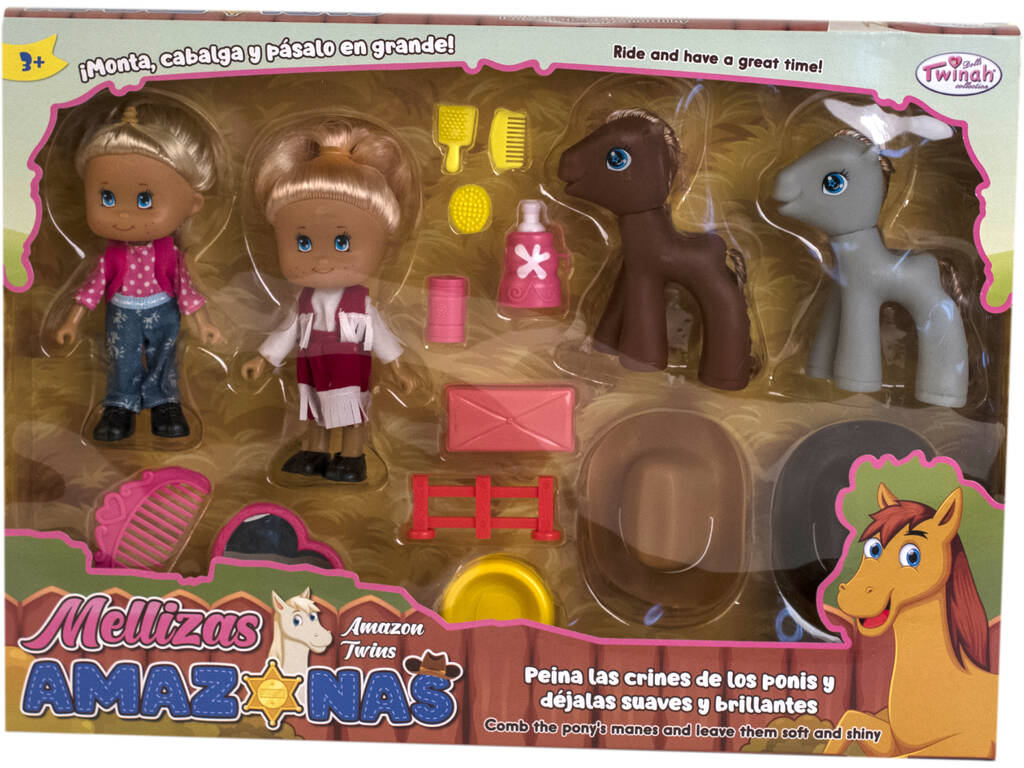 Set 2 Bambole Gemelline 13 cm con 2 Pony e Accessori